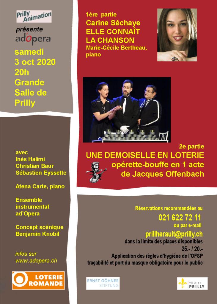 Carine Séchaye + Une demoiselle en loterie @ Grande salle de Prilly